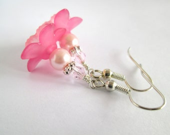 Pink Flower Earrings, Pink Earrings, Flower Earrings, Flower Jewelry, Pink Floral Earrings, Floral Jewellery, Gift for Sister, Gift for Her