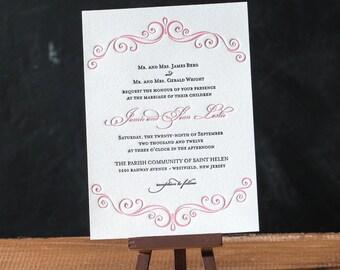 Grace Letterpress Invitation Set DEPOSIT