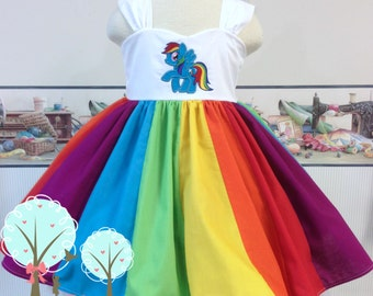 Rainbow My Little Pony inspired Twirl Strip Custom Dress Children - My Pretty Pony -Pegasus Ponies - Unicorn