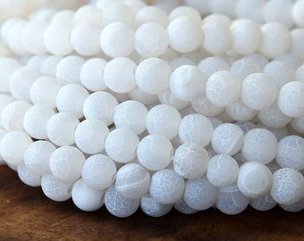 Frosted Agate Beads, Snow White, 6mm Round - 14 inch strand - eGR-AGF5-6