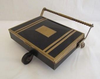 Vintage Cigarette Case Match Case Cigarette Caddy Art Deco Brass with Black Enamel 1930s Very Good Condition