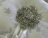 Ring Pillow, White with Silver embroidery delicate silky organza and Satin.Ring bearer / Bridal/Brooch