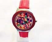 Saving the Children Watch,Limited Edition, Multi-Color Dial, Red, Man Made Band FREE SHIPPING