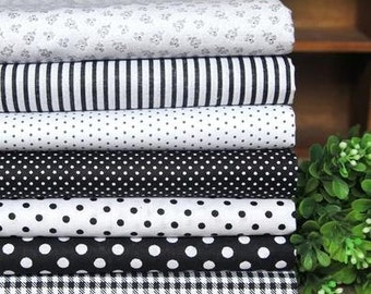 7 pieces Black White Group Series Color collection Cotton Cloth  Quilt Fabric-DIY Handmade Fabric Cloth