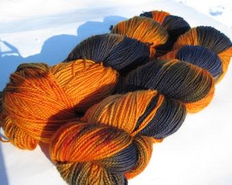"""Handpainted Merino Superwash Sock Yarn- """"Tiger Lily"""""""