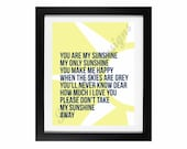 You Are My Sunshine | The Sunshine Collection: Printable No. 2 - INSTANT DOWNLOAD