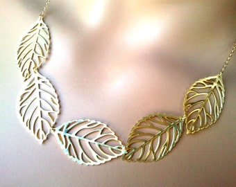 Autumn Leaves Gold Statement necklace, Bib, Strand, Leaf Pendant Necklace, Bridal Necklace, Bridesmaid Gift, Christmas Gift