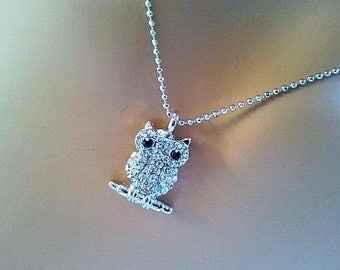 Owl Necklace, Good Luck Charm Necklace, Cubic necklace, charm, pendant, lariat, necklace, CZ stones