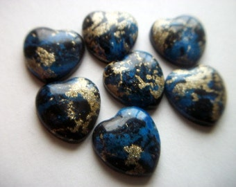 Blue and Gold Plastic Heart Cabochons x 7    # T 15