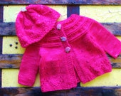 Baby Girls Clothes - Hand Knitted Bright Pink Sweater Set for Infant Girls - Wool Baby Clothing Size 6-9 Months