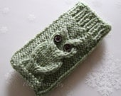 iPod Touch case iPhone 5 cover Samsung HTC Droid Incredible bag Smartphone sleeve mobile Blackberry knit Owl in Ancient Green /Grayish Green