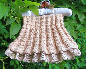Baby skirt, infant/ baby girl fashion, baby shower gift, girl photo props, 3- 6- 9- 12 months skirt knit in beige accented with beige lace