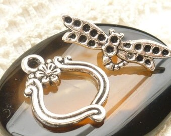 Dragonfly and Flower Toggle Clasp, Antique Silver  (4 sets) - SF81