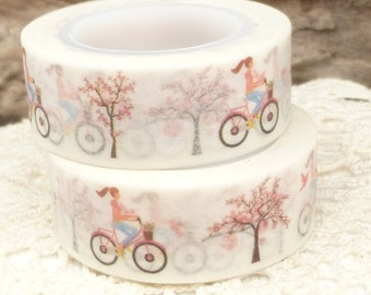Pink Girl on Bike Cherry Blossom Spring Washi Tape - CC590