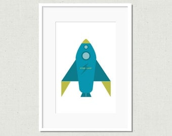 "Modern rocket print, rocket art, red rocket, modern nursery art, nursery decor, kids room decor, colorful nursery art, 5x7"", various colors"