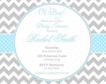 Blue  Boy Baby Shower Invitation and FREE Thank You Card Printable - Blue Baby Boy Shower invite