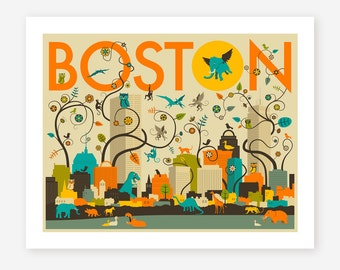 BOSTON SKYLINE, Giclée Fine Art Print, Boston Poster, Pop Art for the home Decor