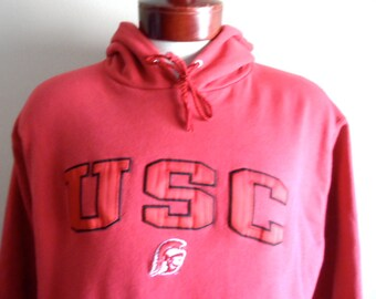 go Trojans vintage 90's USC University of Southern California oxblood red fleece embroider applique logo graphic hoodie sweatshirt