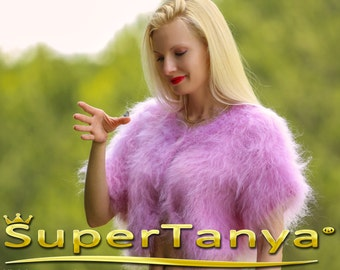 Custom made hand knitted mohair sweater bolero in baby pink by SuperTanya