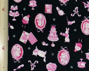 Emi Kondo Japanese Fabric / Classical Alice in Wonderland Fabric Black  - 110cm x 50cm