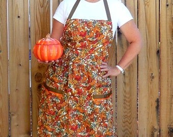 Apron-Womans Fall Colors Full Kitchen Apron-Size Medium