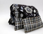 "Neck Kozi ""GeoFleur"" - Hot Cold Therapy bag with removable cover. Microwavable corn bag. Charcoal, Grey, Green, Flower, Stripe"