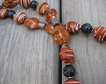 JEWELRY SALE- Dark Orange/Terra Cotta, Black, Antique Silver Necklace- only 1 available