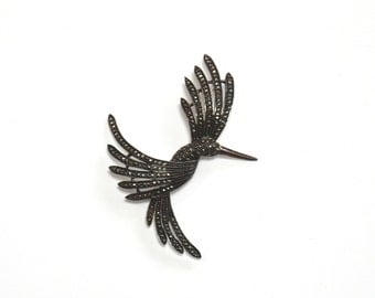 VINTAGE MARCASITE BIRD Pin - Sterling Silver 925 - Beautiful Large