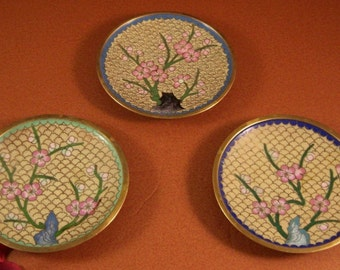 Chinese Cloisonne Dish Tray // Set of 3 // Chinoiserie