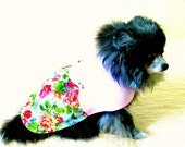 "Small Dog ""Rose Blossom"" Dress Custom Size Pet Clothes - Pink, Maroon, Leaf Green and Blue Cotton - Chihuahua Bichon"