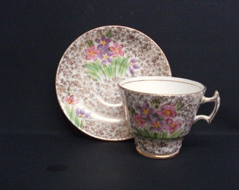 Fantastic CUP and SAUCER - Hand Painted - Vintage Cup and Saucer Set-  by Phoenix - English Bone China - Made in England