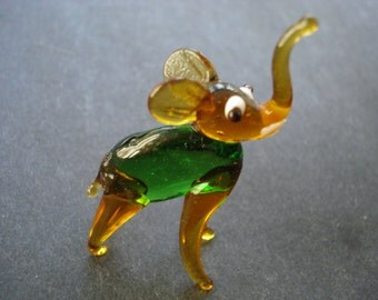 For  a Good Luck MINIATURE BABY ELEPHANT -  Trunk Up for a Good Luck - Figurine - Art Venetian Style Glass