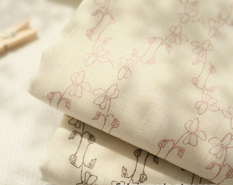 Neat Cream Cotton Fabric With Nice Pencil Sketch Flower Summer Cotton Fabric- 1/2 Yard