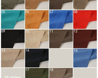 Heavy Silk Cotton Fabric Cotto Smooth Clothes Fabric 18 colors in Blue Red Khaki Army Green - 1/2 yard