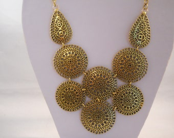 Gold Tone Chain Bib Necklace with Gold Tone Pendants