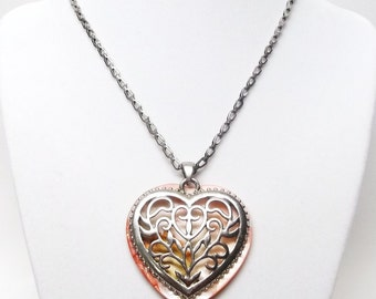 Silver Filigree Heart on Pink Shell Pendant Necklace