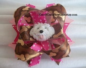 Girls Dog Hair bow Pink Brown Puppy Bows