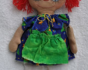 "SALE! Annie. 11"" Hand stitched all natural rag doll (Primitive, Folk doll)"