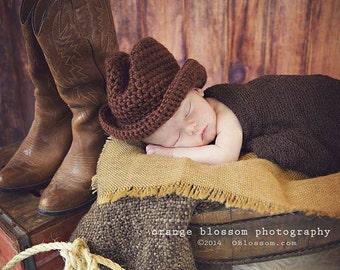 Crochet Baby Cowboy Hat, Lasso, Newborn Photo Prop