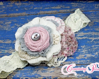 Dusty Pink, Ivory, Grey Hair Piece, Women's Headband, Fabric Flowers, Blush, Gray, Cream Hair Accessories, Baby Girl Hair Bow, Floral Brooch