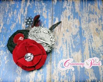 Black, White, Red Headband, Red Hair Bow, Baby Girl Headband, Hair Piece, Fabric Flower Brooch, Fabric Flower Headband, Hair Accessories