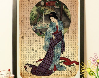 Japanese Geisha with cat thermal baths - Vintage Japan paper Dictionary Print