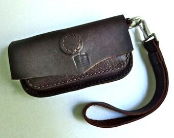 Small leather belt case, dark brown leather clutch, leather wristlet, hip bag, hip purse