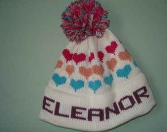 Homemade machine washable knit hat : Eleanor, Chloe, Violet
