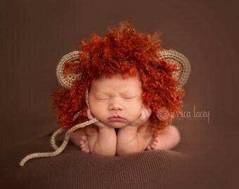CROCHET PATTERN: Little Lion Bonnet - permission to sell finished items - digital download