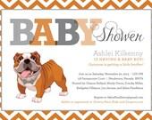 Bulldog Baby Shower Invitation with Chevron Monogram