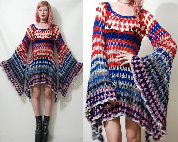 Crochet Dress Vintage Colourful Granny Square Bell Sleeve Mini