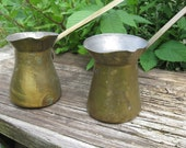 Brass containers with handles pouring 1950's or earlier vintage-pair of them