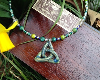 Teal Triquetra Necklace