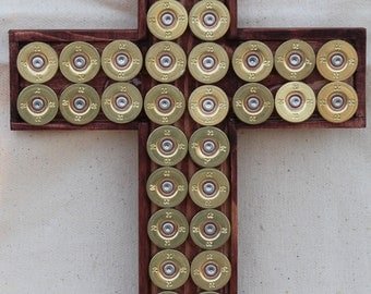 Gold Shotgun Shell Cross with a Beautiful Satin Stained-Wood Frame